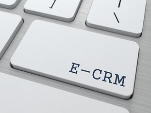 E-CRM. Information Technology Concept. Button on Modern Computer Keyboard. 3D Render.-2