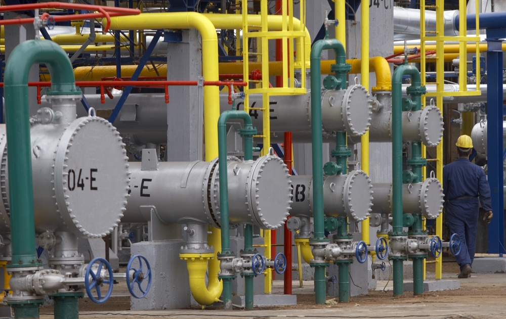 close up of industrial pipes of oil industry production-1