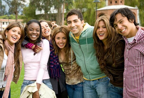 happy group of young people at a university college-1
