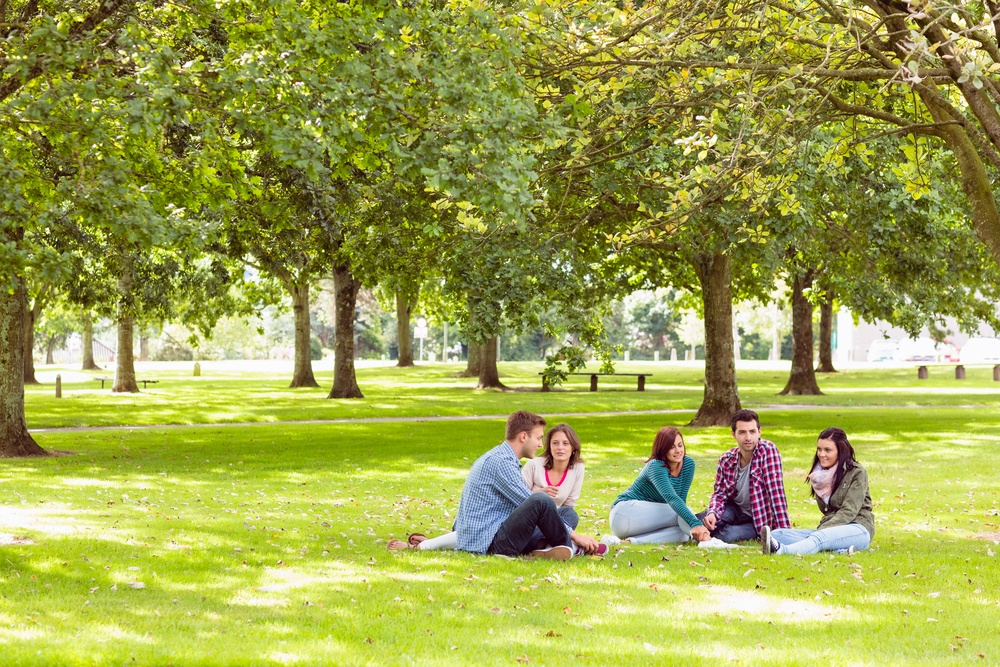 Group of young college students sitting on grass in the park.jpeg
